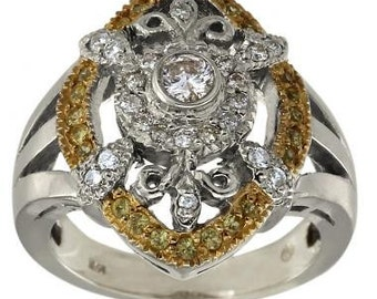 Antique Diamond And Yellow Sapphire Ring In 14K White Gold
