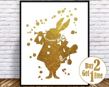 Alice in Wonderland Decorations, White Rabbit print, White Rabbit Art, Disney Nursery, Nursery illustration, Gold Foil Art Print