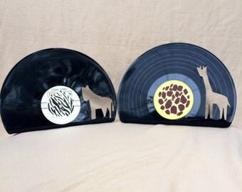 Vinyl Record Zebra and Giraffe Bookends