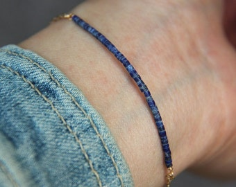 Natural Lapis Lazuli Bracelet, Lapis Bracelet, Beaded Bracelet, Lapis Lazuli, Gold Filled Bracelet, Beaded Jewelry, Gemstone Bracelet