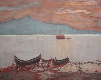 Impressionist vintage boats seascape oil painting