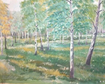 Vintage gouache spring landscape painting signed
