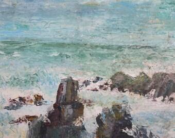 Impressionist vintage seascape oil painting