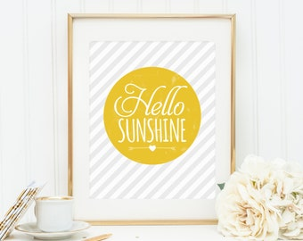 Hello Sunshine, Quote Prints, Nursery Wall Art, Quote Postcard, Printable, Wall Print, Nursery Decor, Motivational Print, Art Postcard