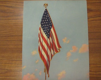 American Flag Calendar Top Print, 1942