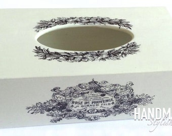 handmade wooden tissue box cover/ kleenex box holder, shabby chic style