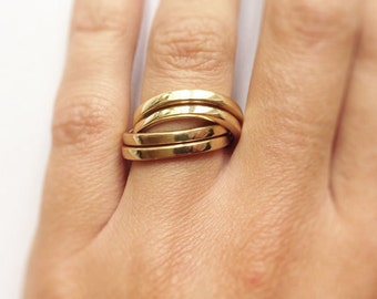 Ring QUADRUPLE, made from brass