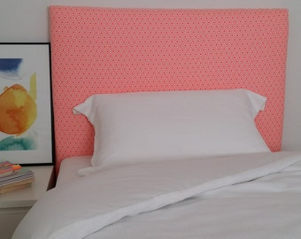 Single upholstered bedhead headboard with bright geometric print