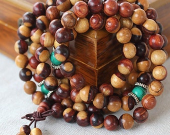 6mm/8mm Natural Authentic Red Sandalwood Beads Loose Mala Beads 108 Beads Meditation Prayer Beads Japa Mala Buddha