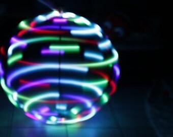 "LED Hoop - ""Rainbow Flash"" Hula Hoop- sizes 26""OD - 38""OD - Hdpe or Glow Polypro sizes 26""-38"" Outer Diamter"