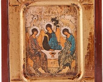 Holy Trinity Icon.Wooden Holy Trinity Icon. Rublev's Holy Trinity Icon. Wood Holy Trinity Icon.