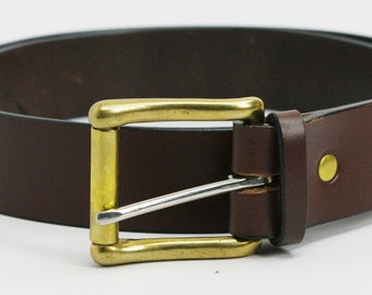 "1 1/2"" extra long medium brown American Bridle leather belt - 1 1/2 solid brass buckle"