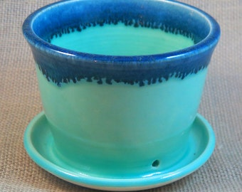 deep celadon and blue small ceramic planter