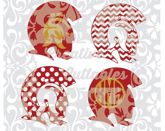 SVG School Mascot  Trojans  Chevron, Polka Dot Monogram for  Silhouette or other craft cutters (.svg/.dxf/.eps)