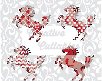 SVG School Mascot  Mustang  Chevron, Polka Dot Monogram for  Silhouette or other craft cutters (.svg/.dxf/.eps)