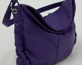 Purple soft leather shoulder bag, Hobo bag.