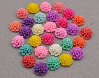 50pcs Resin Flower / Mixed Colors / Resin Cabochons 20 mm