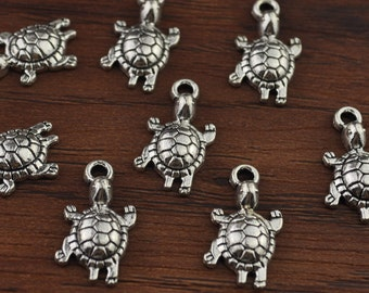 Turtle,Turtle Charm,Turtle Pendant,Antique Silver Tone 12x19mm-A