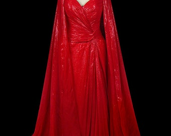 Bob Mackie vintage red lamé strapless goddess gown w/ shawl wrap, pleated sweetheart bodice, vintage couture dress ensemble, 1970s / 1980s