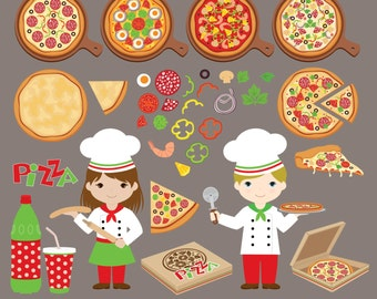 Pizza Party Digital Clipart, Italian Chef Clipart