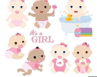 Baby Girls Digital Clipart