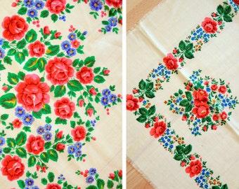 Vintage big woolen shawl Woolen scarf with floral pattern #89 - set of 2
