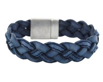 Woven leather Bracelet in Denim Blue