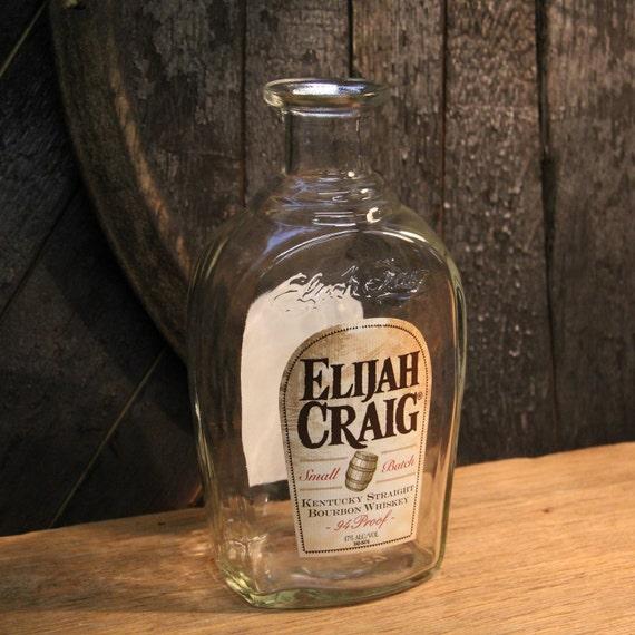 Empty Elijah Craig Bourbon Whiskey Bottle  Recycled Glass Bottle Recycled Candle Jar Whiskey Candle Empty Glass Bottle Vase Craft Supplies