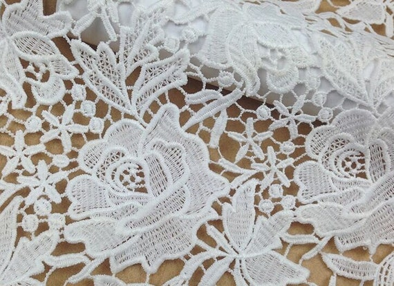 Articles similaires 120cm tissu de dentelle de coton for Guipure noire au metre