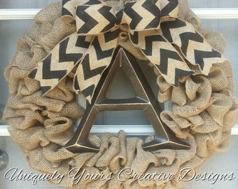 Monogram Burlap Wreath Chevron Burlap Bow, Rustic Monogram Wreath, Intial Wreath, Burlap Wreath, Rustic Burlap Wreath Personalized Gift Idea