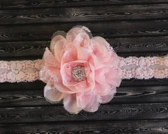 Flowergirl headband, light pink lace headband, baby headband