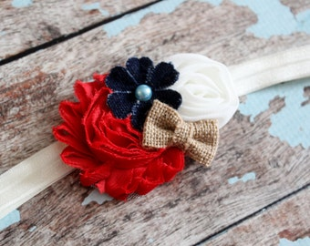 July 4th baby headband, red white blue baby headband