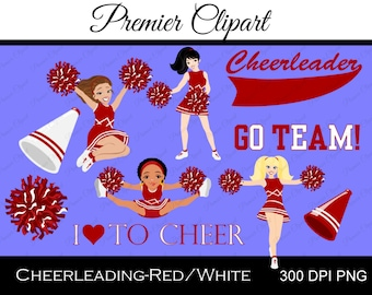 Cheerleading-Red & White Digital Clipart