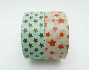 Cute Star Washi Tapes Set of 2 Rolls - 5m Animal Masking Tape Gift Wrapping