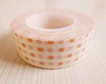 Japanese Washi Tape Rice Paper Tape Masking Tape - Orange Polka Dot Pattern (10m)
