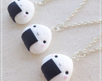 Necklace Onigiri ~ Cute Kawaii 御握り おにぎり Necklace Fimo Polymer Clay rice Japan black white Gift Chibi Face Fake Food