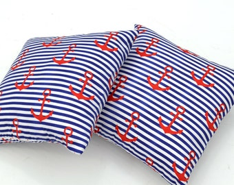 Anchor Forth of July Nautical Throw Pillows in Red White and Blue