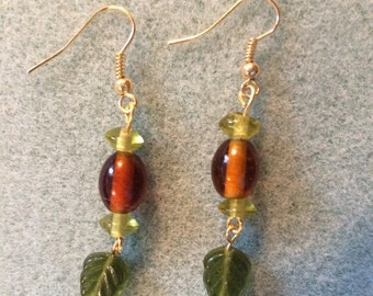 Green and brown leaf earrings