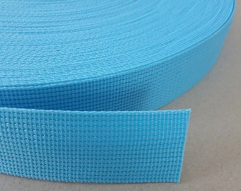 5 Yards, 1.25 inch (3.2 cm.), Polypropylene Webbing, Light Blue, Key Fobs, Bag Straps, Purses Straps, Belts, Tote Bag Handle.