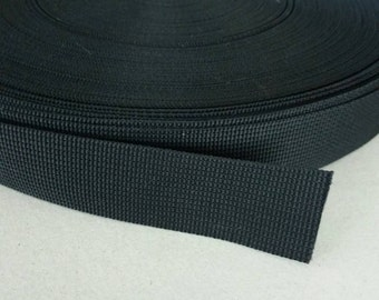 5 Yards, 1.25 inch (3.2 cm.), Polypropylene Webbing, Black, Key Fobs, Bag Straps, Purses Straps, Belts, Tote Bag Handle