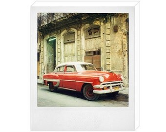 Polaroid of Classic Red Cuban Car Canvas Print