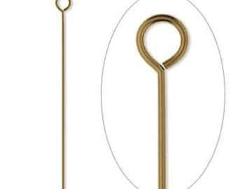 Antiqued Gold Plated, Brass Eye Pin, 1-1/2 inch, 24 gauge eye pin, 50 each, D410