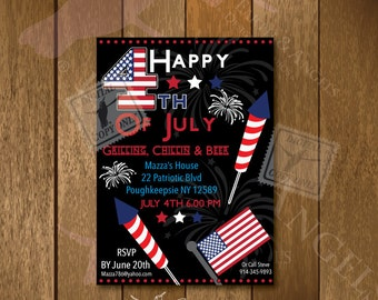Fourth of July Invitation…..Celebration….Party 5x7x