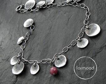 Bracelet - oxidized silver and ruby