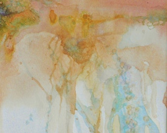 Original abstract watercolor art pale pastel landscape ooak hand painted dreamy pink landscape matted