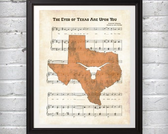 Eyes of Texas Sheet Music Art Print Featuring State of Texas and Longhorn