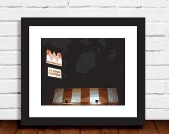 Texas-based Whataburger at Night orange white black wall art decor photo print