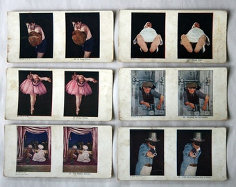 Stereoview Cards, Set of 6 Color Novelty Themes, A.C. Co., 1925
