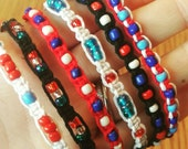The American Collection ~ Red White & Blue assorted hemp bracelets.