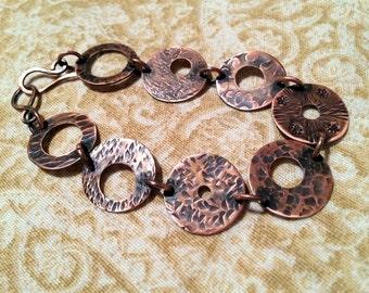 Stamped Copper Washer Bracelet